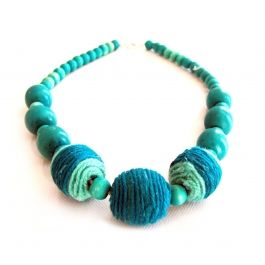 Handpainted Wood Beads Necklace w Wool Beads, Turquoise | Buy Online in South Africa | MzansiStore.com