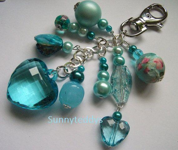 Purse Jewelry: Love My Turquoise Chunky Heart Bag Charm NEW By Sunnyteddy