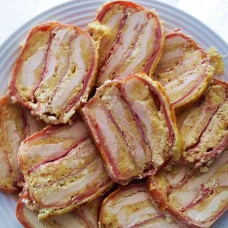 Receptbázis - Sonkás-sajtos rakott csirkemell - 70 dkg csirkemell (pulykamell ),1 kávéskanál só,1 mokkáskanál őrőlt bors,8-10 szelet bacon,8 dkg liszt,3 tojás,15 dkg trappista sajt,15 dkg füstölt sajt,8 szelet pulykasonka,2 dl tejföl, - húst kissé,szeletelt baconnal,szalonna kilógjon,lereszelt sajtok,sort rakunk,anyagokból tart,tejfölt rálocsoljuk,szalonnát visszahajtjuk,fóliát eltávolítjuk,éjszakát hűtőben,, A húst kissé lapjára, 4-5 dekás darabokra szeleteljük, sózzuk, borsozzuk. Olyan…