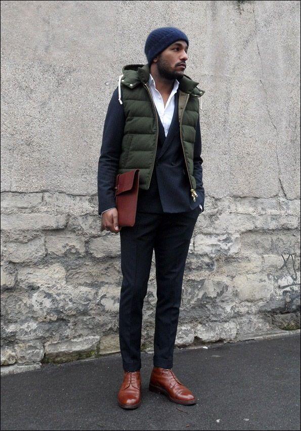 """theurbanfellow: """"www.theurbanfellow.tumblr.com """" スーツの上にダウンベストとか普通しないけどカッコいい。"""