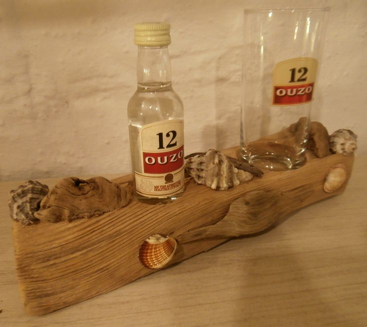 Driftwood Emergency Kit featuring Ouzo 12 miniature and glass.