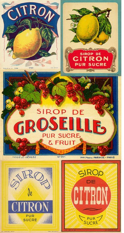 French vintage labels
