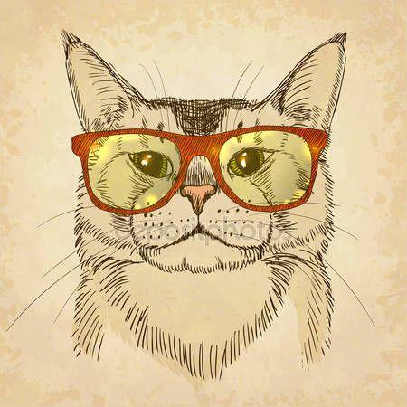Hipster kat — Stockillustratie #35955297