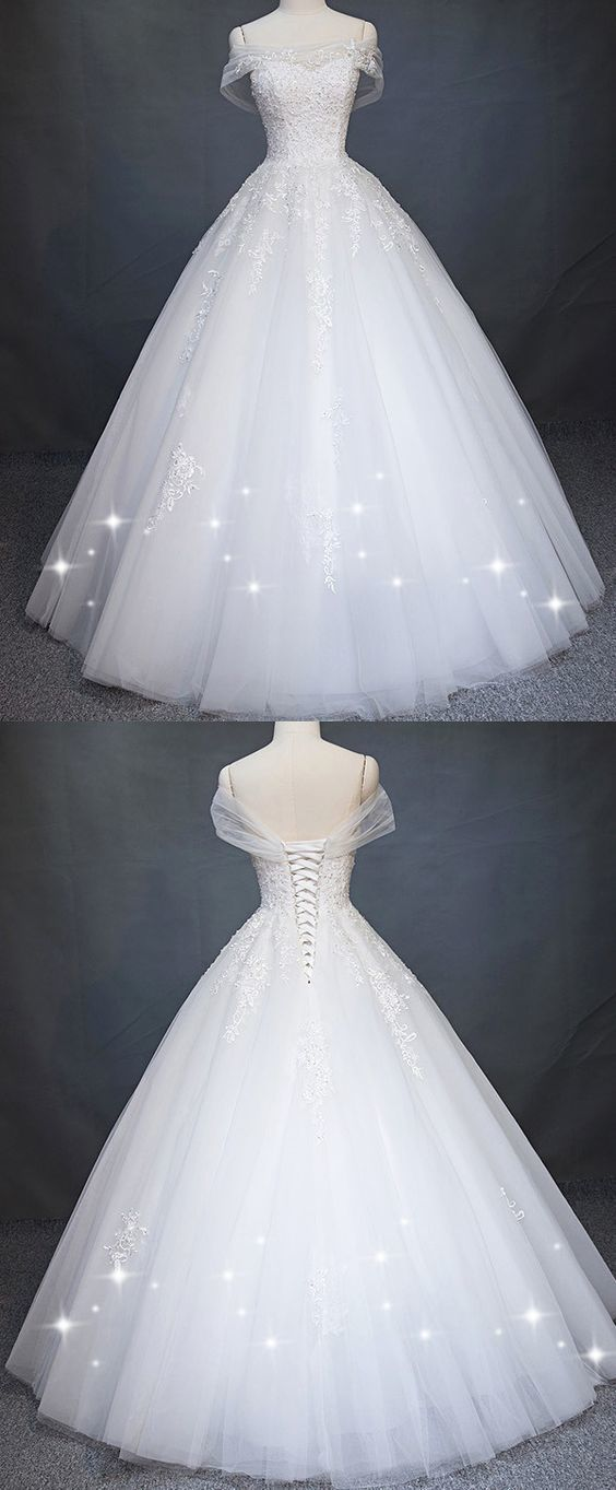 Attractive Tulle Off-the-shoulder A-Line Wedding Dress With Beaded Lace Appliques 1243