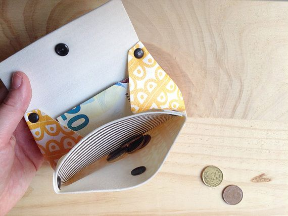 Womens wallet, Yellow and grey coin purse, Small womens wallet