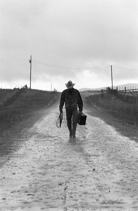 cowboy coming home in the rain.