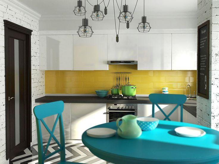 Кухня в  цветах:   Бежевый, Белый, Бирюзовый, Светло-серый.  Кухня в  стиле:   эклектика.