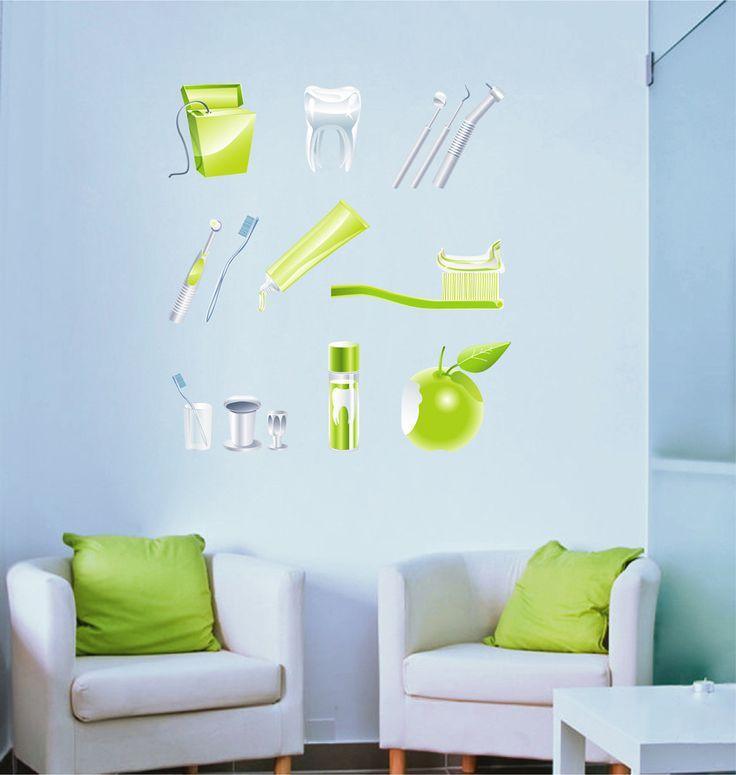 cik1527 Full Color Wall decal attributes teeth dentist dental surgery Clinic Hospital
