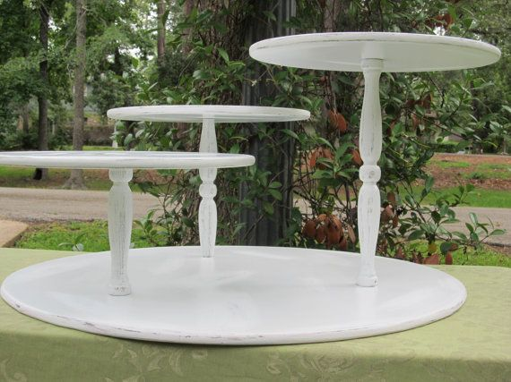 Pie Stand Cupcake Stand Rustic Vintage by SwoonSweetsDesigns, Even better! Let's make this one :) (sorry business that I stole this from on Pinterest, but I assure you that other people lazier and less resourceful than I will indeed purchase your handmade product): Vintage Shabby Chic, Cupcake Stands, Shabby Chic Cupcakes, Chic Rustic, Chic Distressed, Cupcakes Display, Vintage Cupcake, Pies Display, Cupcakes Stands