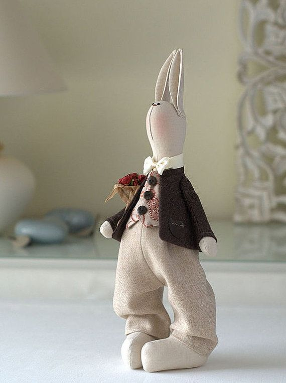 Andrew Bunny-Rabbit Toy-Hare Toy-Handmade by BroderieLittleCorner