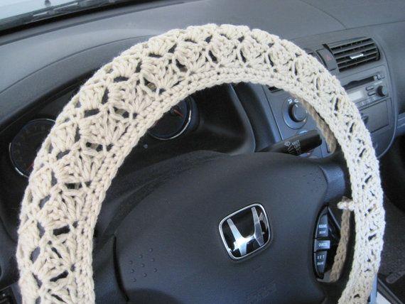 Crochet Steering Wheel Cover Wheel Cozy oatmeal CSWC 2AA by ytang