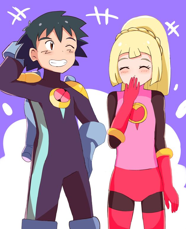 Ash Amp Lillie Dressed As Mega Man Exe And Roll Exe