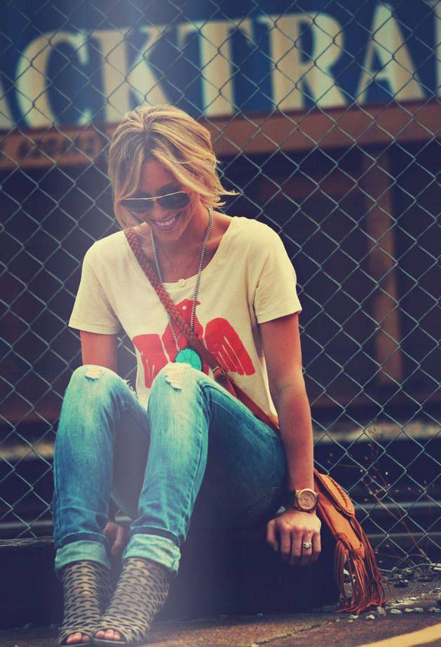 i love the t shirt ripped jeans and wedges/ casual heal look, i don't have a lot of cute t's like this