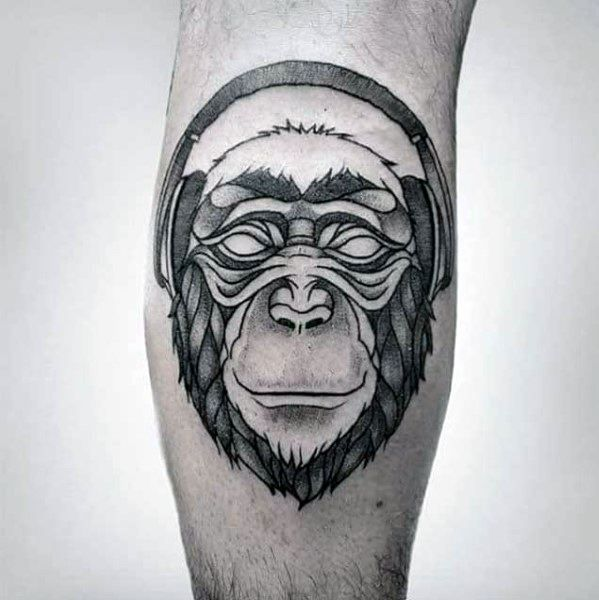 Cool Money With Headphones Tattoo Design Ideas For Males On Leg Calf