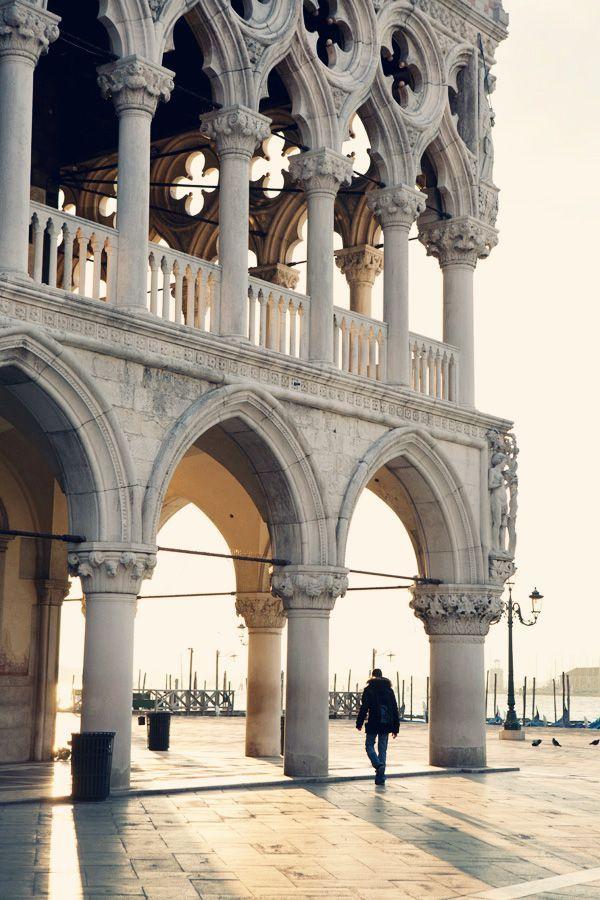 Exploring the grand buildings in Venice.
