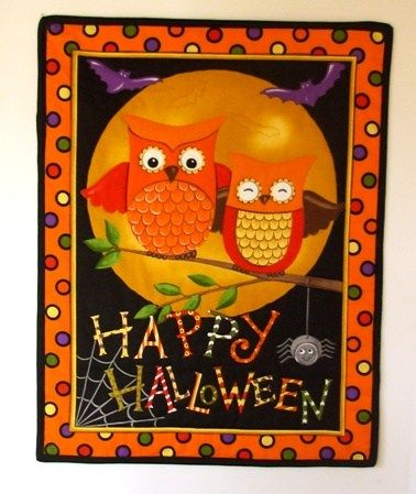 Quilt Wall or Door Hanging Happy Halloween Owls,Bats,Spider