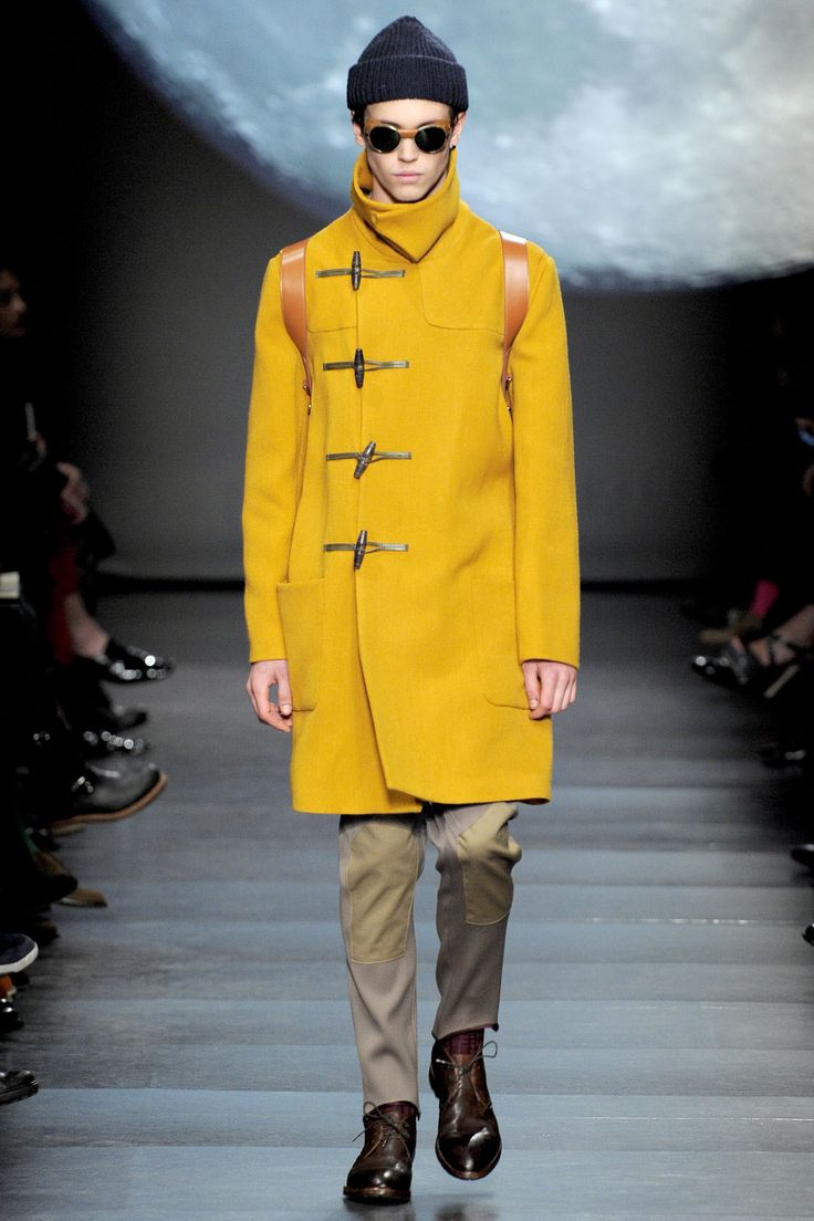 Paul Smith a/w 2011 yellow duffle coat and tan jodhpurs