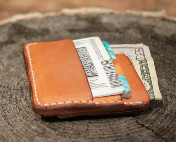 Slim Simple Compact Leather Wallet for Men or Women Tan Black Red Brown