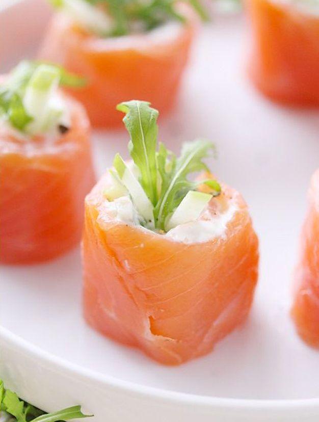 Les roulés saumon-pomme-pamplemousse