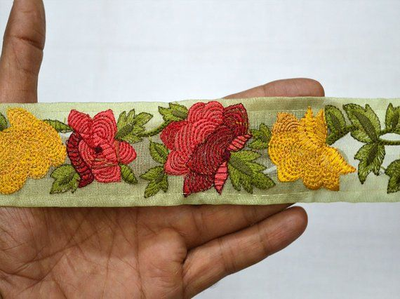 Yellow Sari Border Ribbon Fabric Trim Embellishment Embroidered Indian Trim By The Yard Silk Saree Decorative Sewing Embroidery Crafting