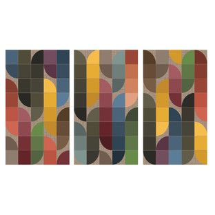 Retro Pattern II Triptych