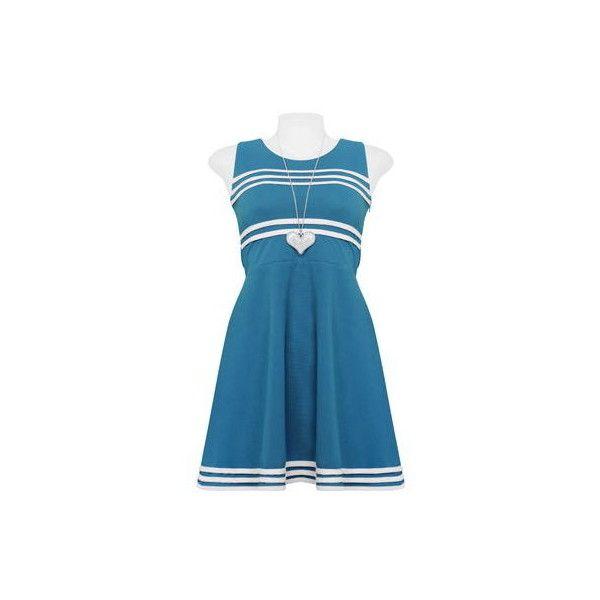 Light Blue Stripe White Dress via Polyvore featuring dresses, white going out dresses, light blue party dress, white spandex dress, striped dress and white party dresses