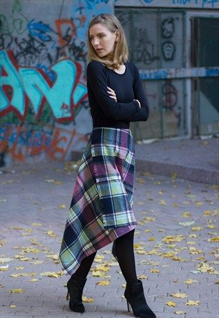 GYPSY PLAID ASYMMETRIC SKIRT