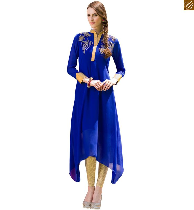 Designer kurti designs long frock style dresses for stylish girl blue pure viscose georgette different cut