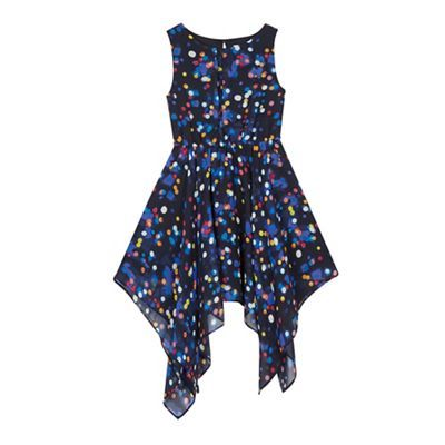 bluezoo Girls' navy lights print waterfall hem dress- | Debenhams
