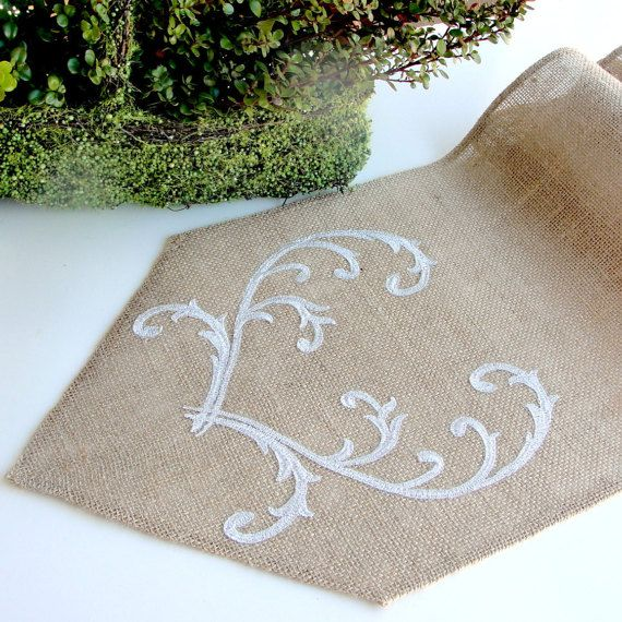Romantic silver wedding table runner Burlap by HotCocoaDesign