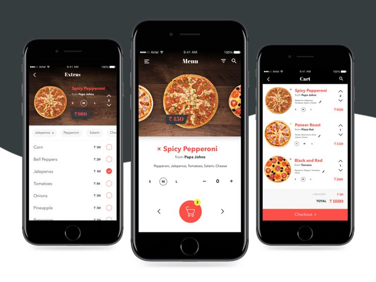 Tried out a concept UI for a Pizza deliver app where the user can order only pizza from nearby pizzerias.   What do you guys think?