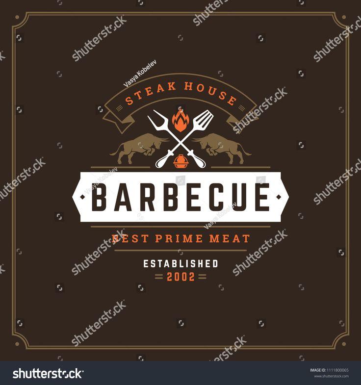 Grill restaurant logo vector illustration Barbecue steak