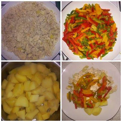 Putenhack mit 5 Eigelb, 10 Eiweiß, 1 große Zwiebel, gekochte Kartoffeln, Paprika gedünstet. (KEINE GEWÜRZE, KEIN SALZ!!!) Sehr eiweißreiche Kost. Lecker, lecker, lecker....