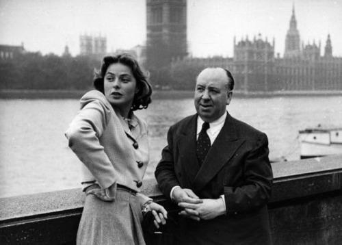 Шведская и американская актриса Ингрид Бергман и Альфред Хичкок. Лондон. Великобритания. 1948г.