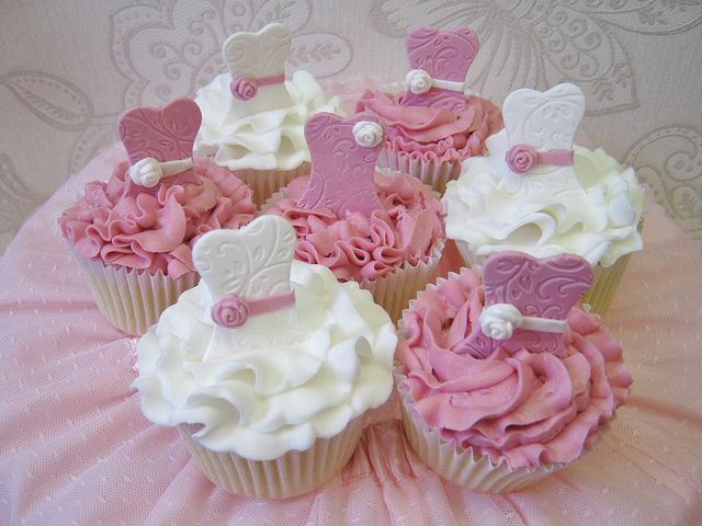 Ballerina Tutu Cupcakes by pollyd (Paula), via Flickr; like the frosting color and upper half of dress design as well