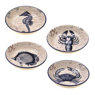 Costeiras postais 9,25 polegadas Assorted Soup Cerâmica / Pasta Bowls (conjunto de 4) pintada à mão