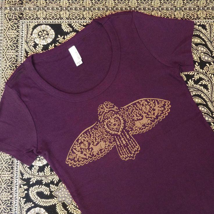 Owl Fying Plum Silkscreened Women's Tee by LittleGoldFoxDesigns on Etsy