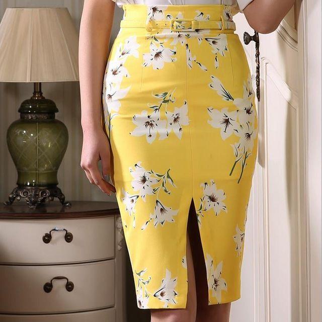 Nueva primavera moda mujer printi faldas sexy Dividida Falda de Talle Alto ol