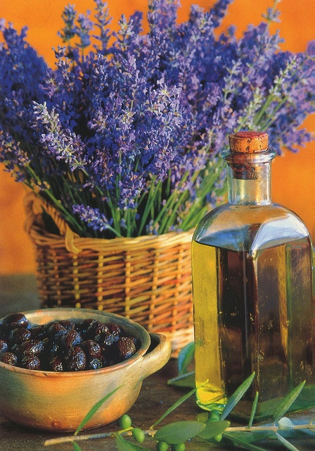 Lavender and olive oil postcard from Provence, France