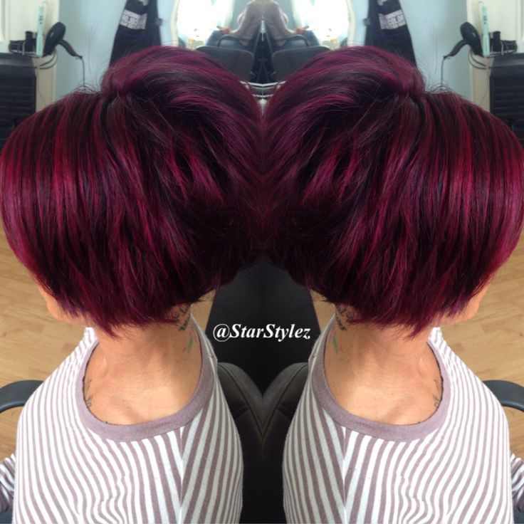 Image Result For Purple And Red Short Hair Hair Color Highlights Hair Styles Short Hair Styles