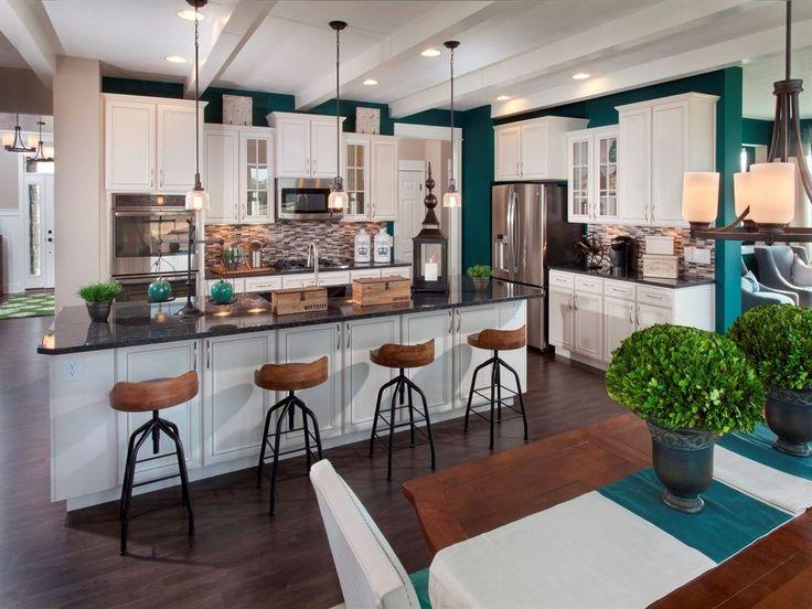 Transitional Kitchen with Flush, Glass Bell 1 Light Pendant, High ceiling, Ceramic Tile, Breakfast bar, Pendant Light