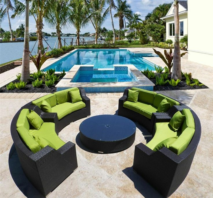 GIANT SOLANGE ROUND OUTDOOR WICKER SECTIONAL SOFA PATIO FURNITURE IN MANY  COLORS | For The Home | Pinterest | Sectional Sofa, Patios And Outdoor ...