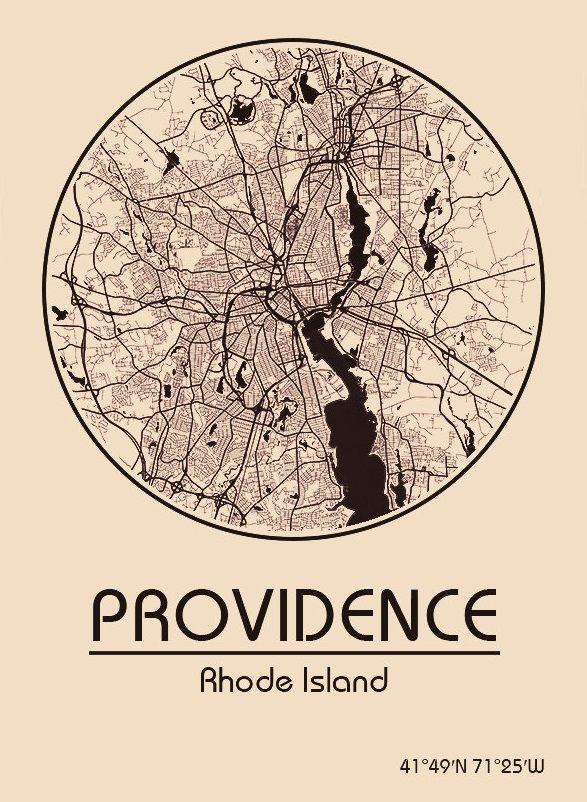 Karte / Map ~ Providence, Rhode Island - Vereinigte Staaten von Amerika / United States of America / USA
