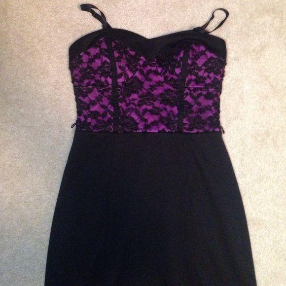 black & purple mini dress with straps black & white mini dress (size small) lilly rose Dresses Mini