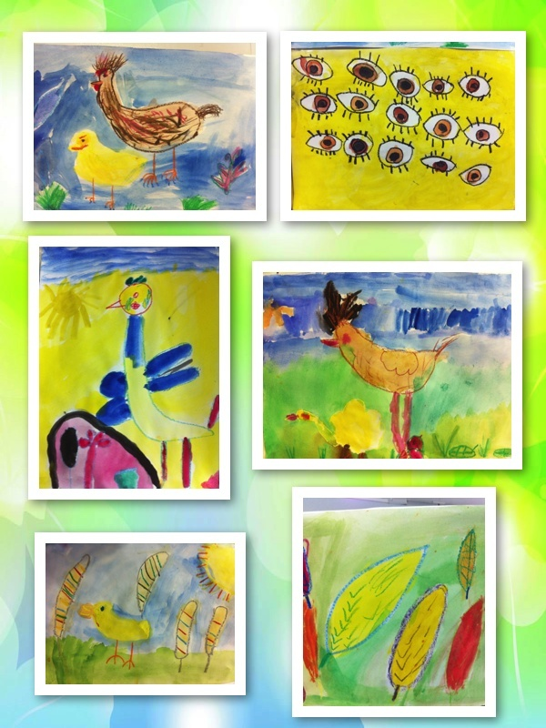 I brought to class a hen, rooster and baby chicks. The children used these for inspiration for their art. With amazing results. The children were 6 & 7 years old.
