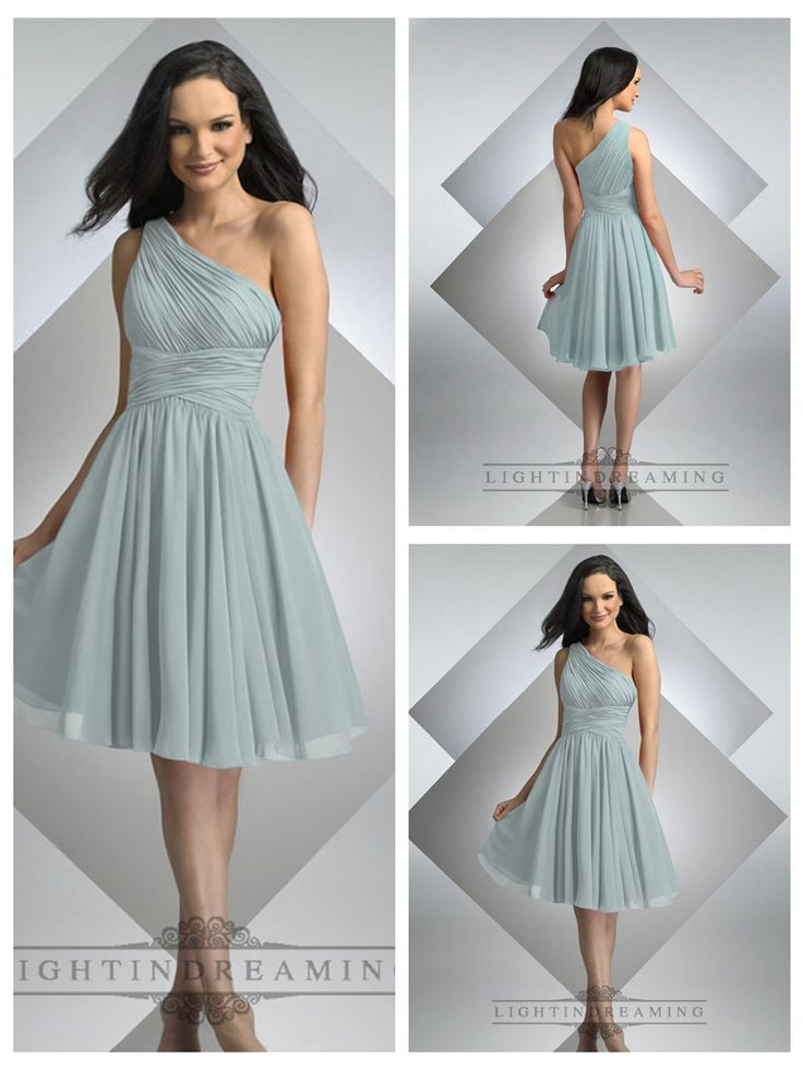 One Shoulder Pleated Cross Waist Knee Length Bridesmaid Dresses