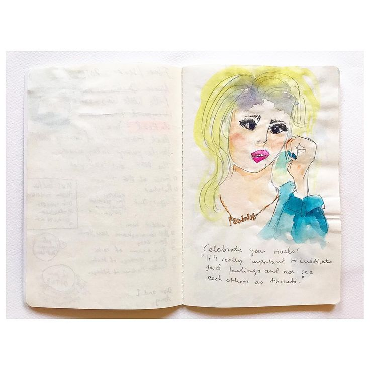 """Note from 2015, an interview with a famous artist, who I can't remember, in a magazine I don't recall. """"Celebrate your rivals! It's really important to cultivate good feelings and not see each other as threats."""" #feminism #wisewords #greatadvice"""