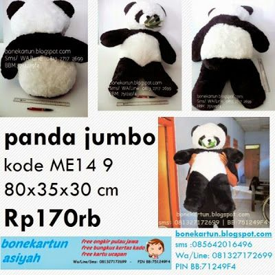 katalog harga jual boneka panda besar jumbo warna hitam putih lucu imut murah bagus  panda jumbo  kode ME14 9 80x35x30 cm Rp170rb Skin rasfur isi full dacron