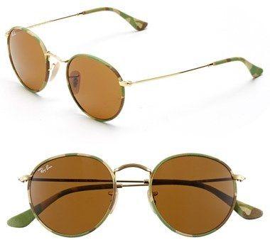 Ray-Ban Camo Print Round 50mm Sunglasses