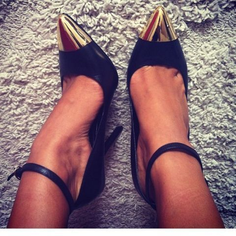 Ankle strap pumps with a gold plated toe.  Easy to dress up or down and a classic look for any season.